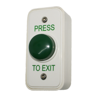 Architrave White Box Green Dome Button - Press To Exit